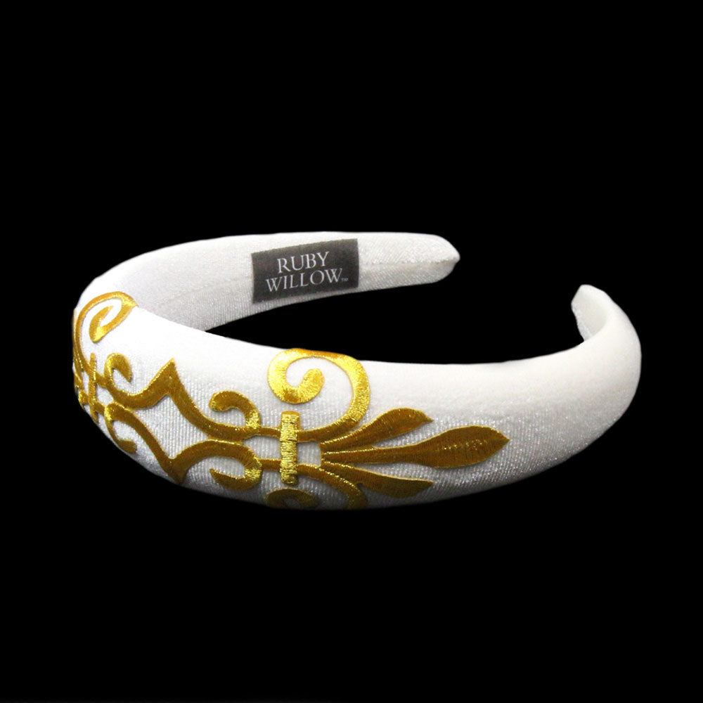 Gabriella - Winter White Velvet Padded Hairband With Gold Scroll