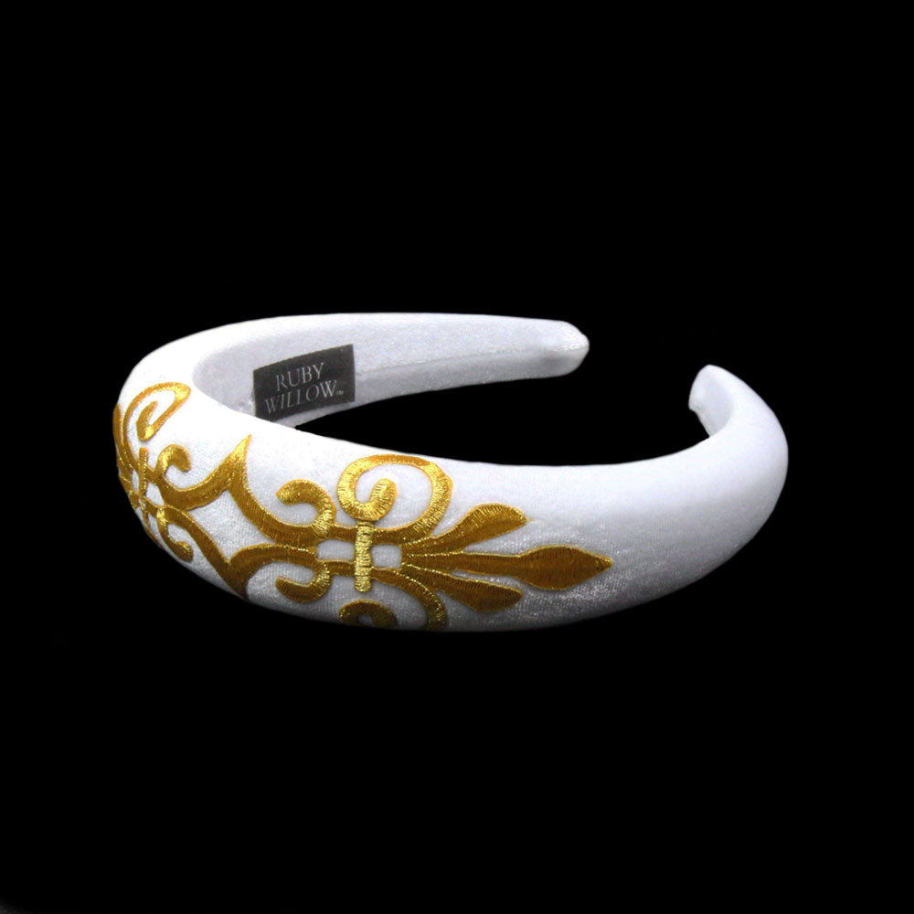Gabriella - White Velvet Padded Hairband With Gold Scroll