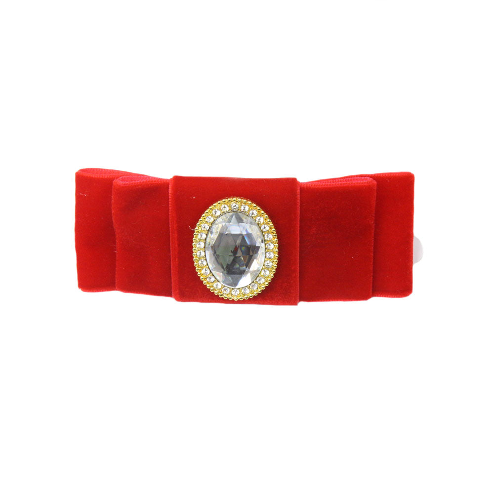Grace - Deep Scarlet Velvet Diamante Crocodile Hair Clip
