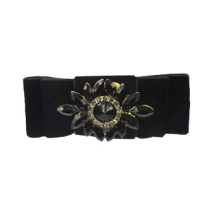 Grace - Black Velvet Diamante Barrette Hair Clip