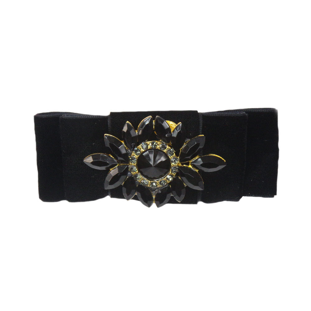 Grace - Black Velvet Diamante Crocodile Hair Clip
