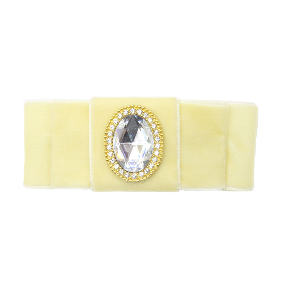 Grace - Cream Velvet Diamante Barrette Hair Clip