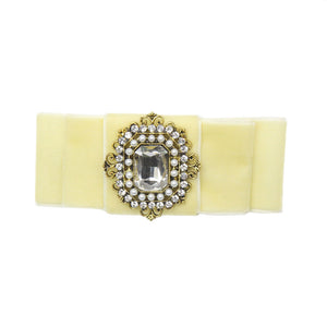 Grace - Cream Velvet Diamante Crocodile Hair Clip