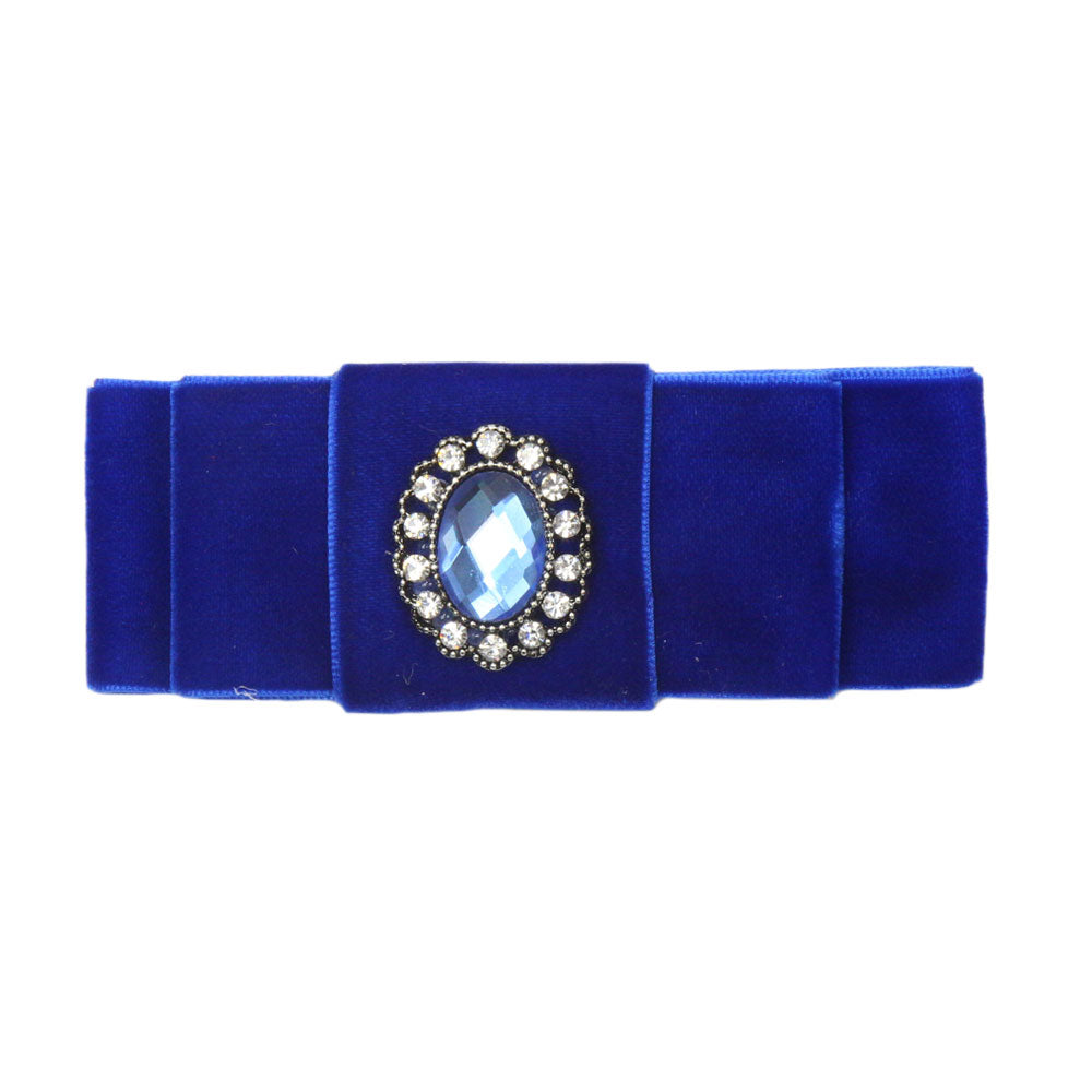 Grace - Royal Blue Velvet Diamante Crocodile Hair Clip