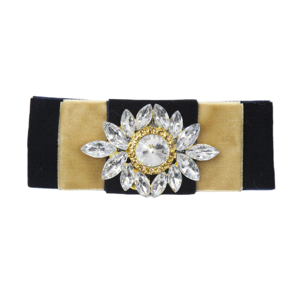 Grace - Navy & Gold Velvet Diamante Crocodile Hair Clip