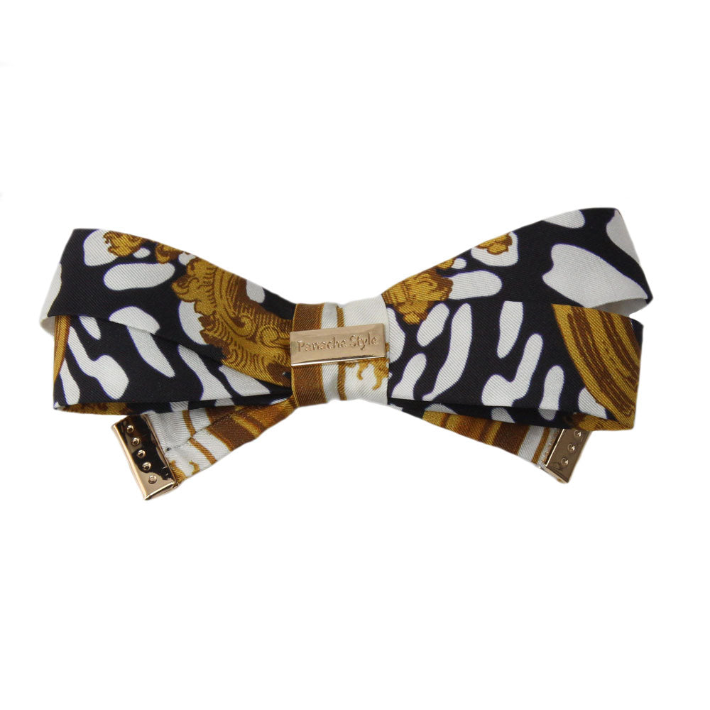 Panache Antonia - Black/White 'Golden Framed' Bow
