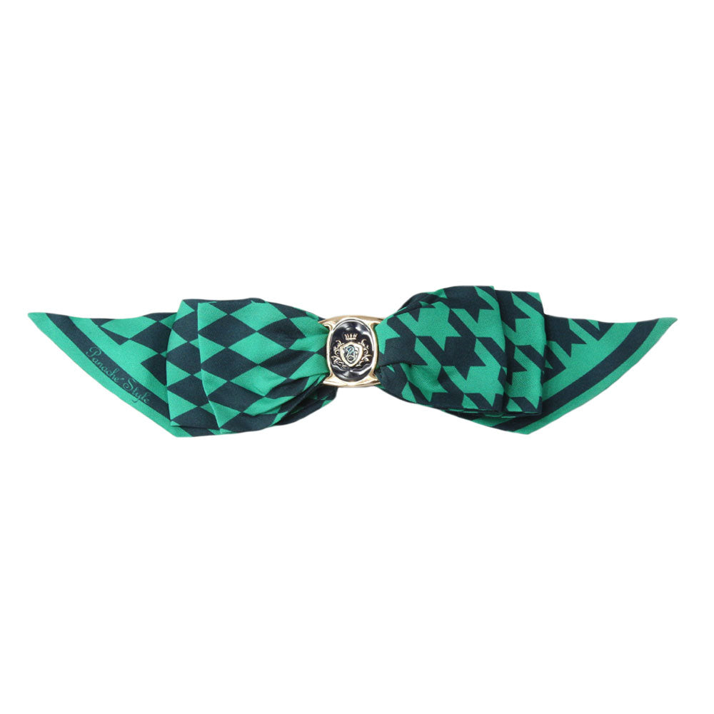 Panache Maria - Navy/Green 'Dogtooth Tradition' Bow