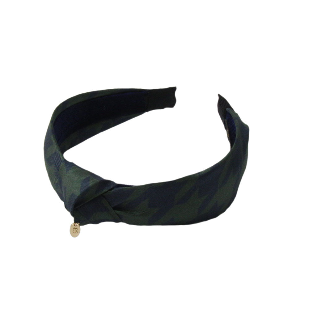 Panache - Navy/Green 'Dogtooth Tradition' Knot Hairband