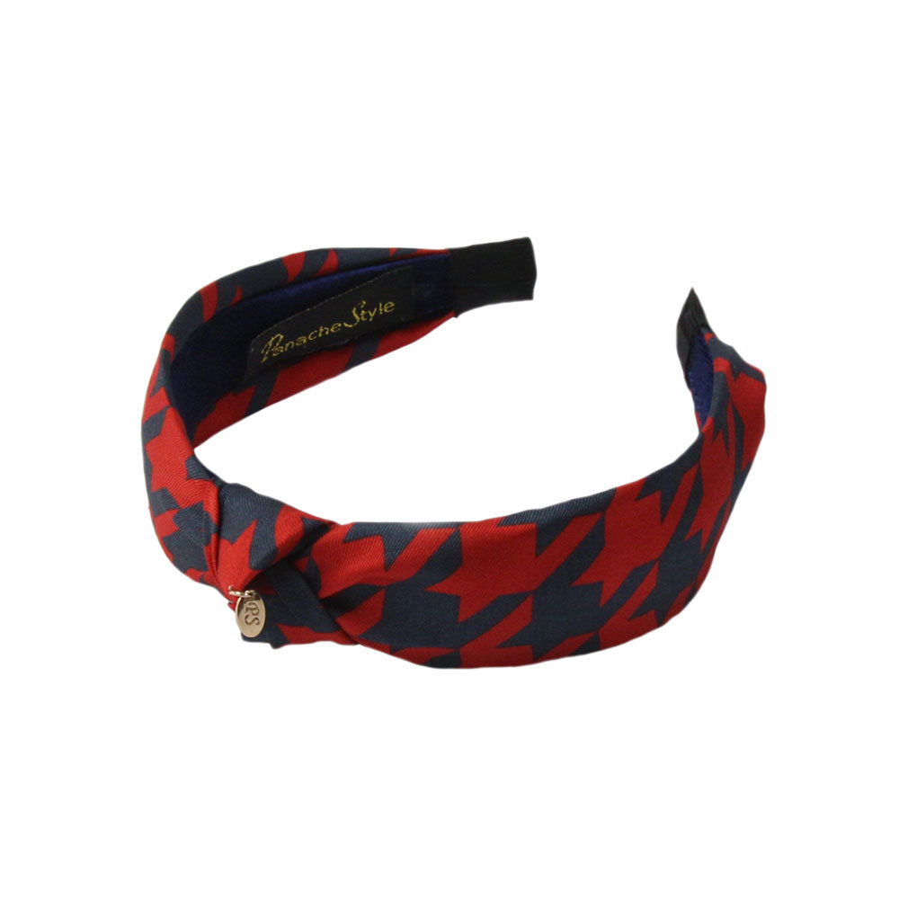 Panache - Navy/Red 'Dogtooth Tradition' Knot Hairband