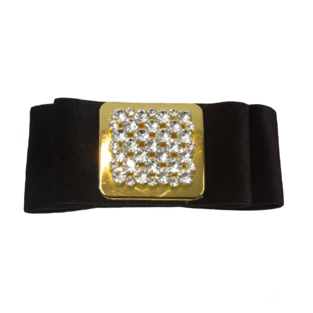 Iona - Black Suede Square Crystal Hair Clip - Clip A