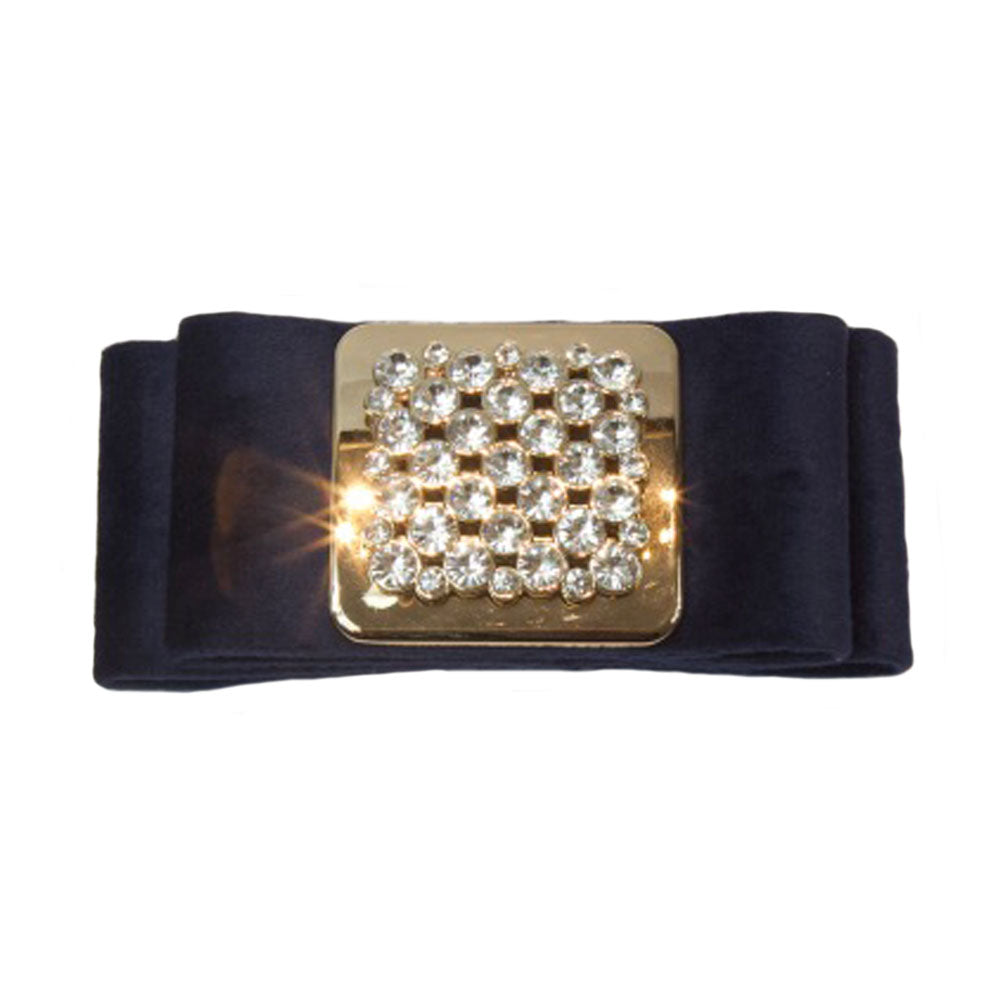 Iona - Navy Suede Square Crystal Hair Clip - Clip A