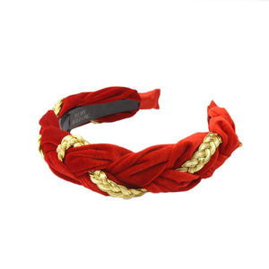 Kyria - Red/Gold Velvet Plaited Hairband