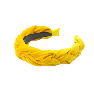 Kyria - Yellow Velvet Plaited Hairband