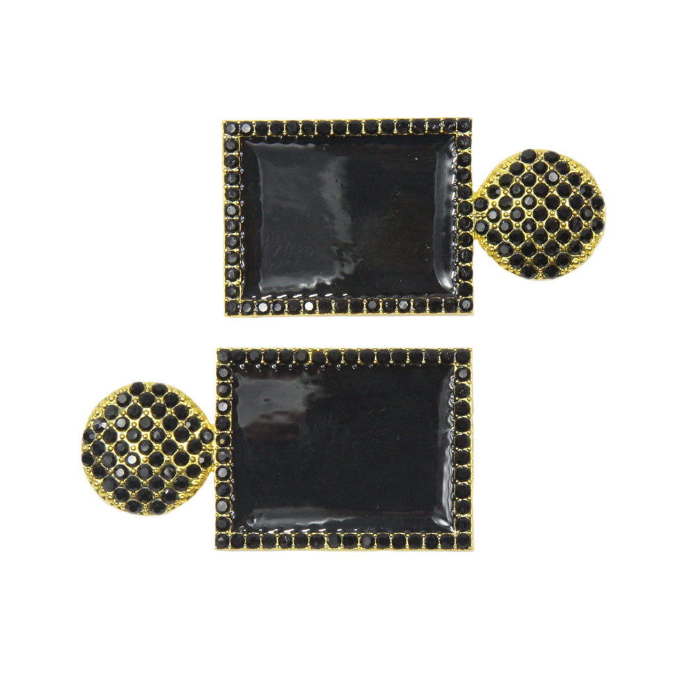 Leanne - Black Large Rectangle Hair Slides