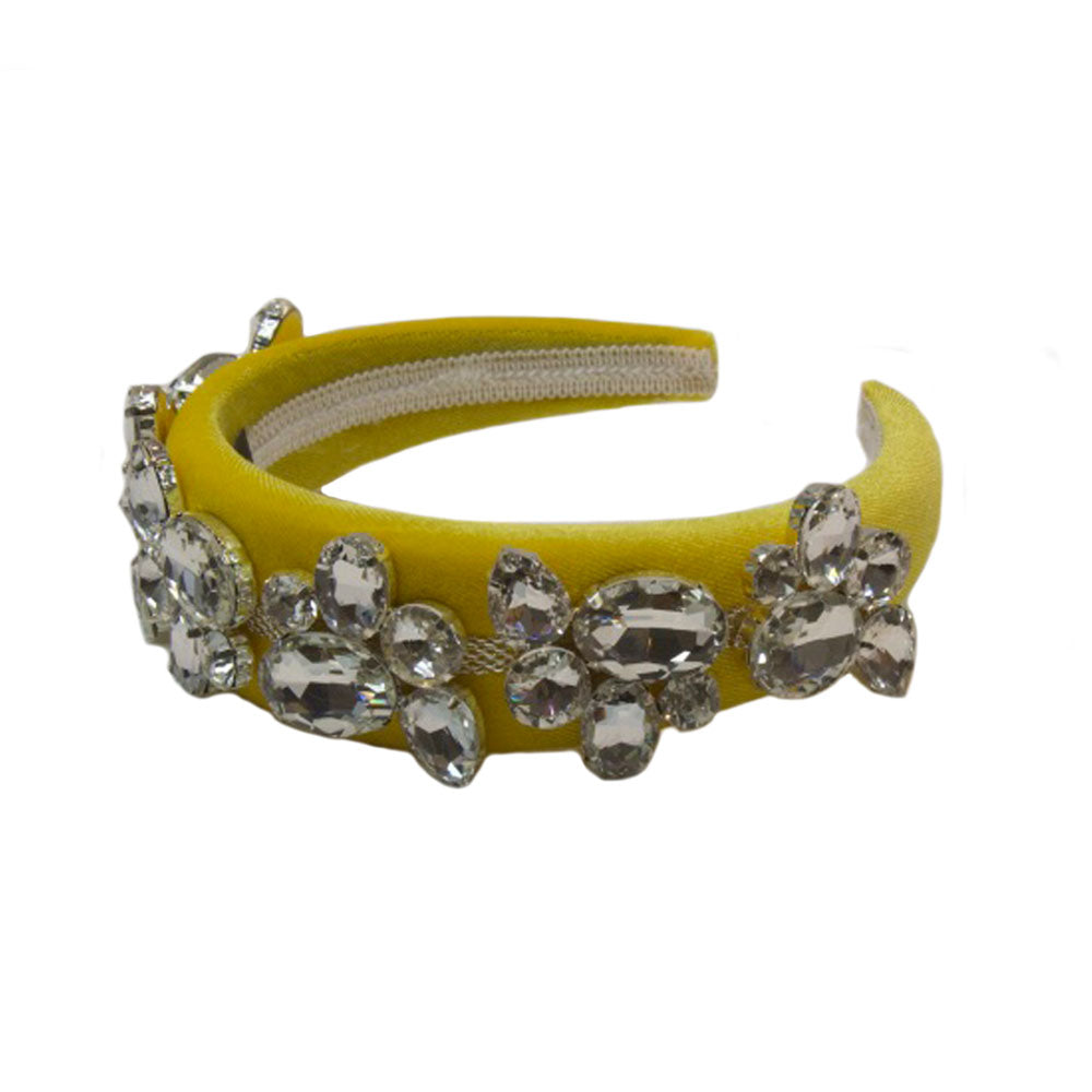 Madeleine - Yellow Silver Diamante Hairband