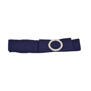 Sasha - Silver Buckle Navy Stretch Band