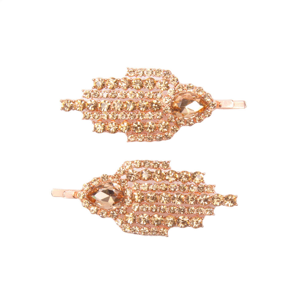 Sandrine - Rose Gold Crystal Hair Slides