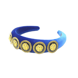 Vittori - Royal Blue Lionhead Velvet Padded Hairband 4cm