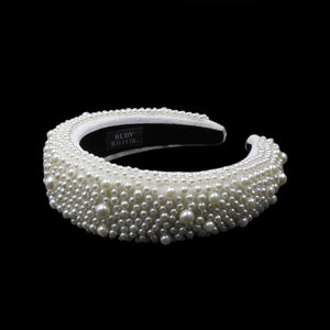Xenia - White Pearl Extra Wide Hairband