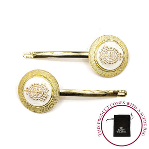 Aquilla - White Shield Design Hair Slides