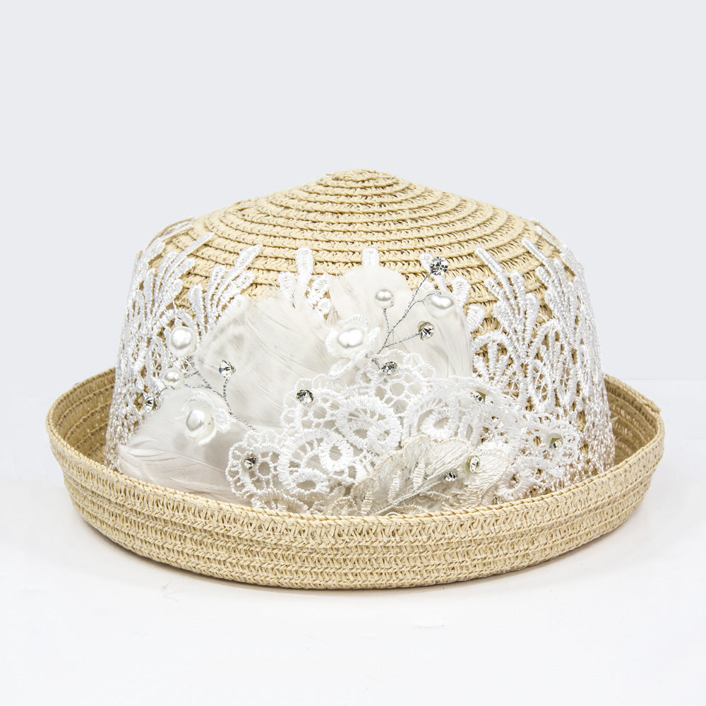 Summer Girls Straw Hat - Beige/Ivory Lace