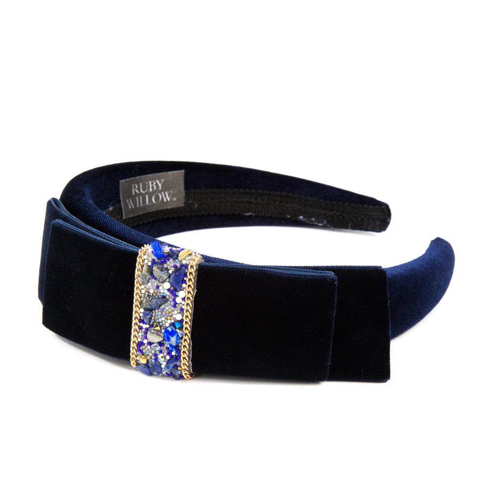 Hannah - Navy Velvet Crystal Bow Hairband