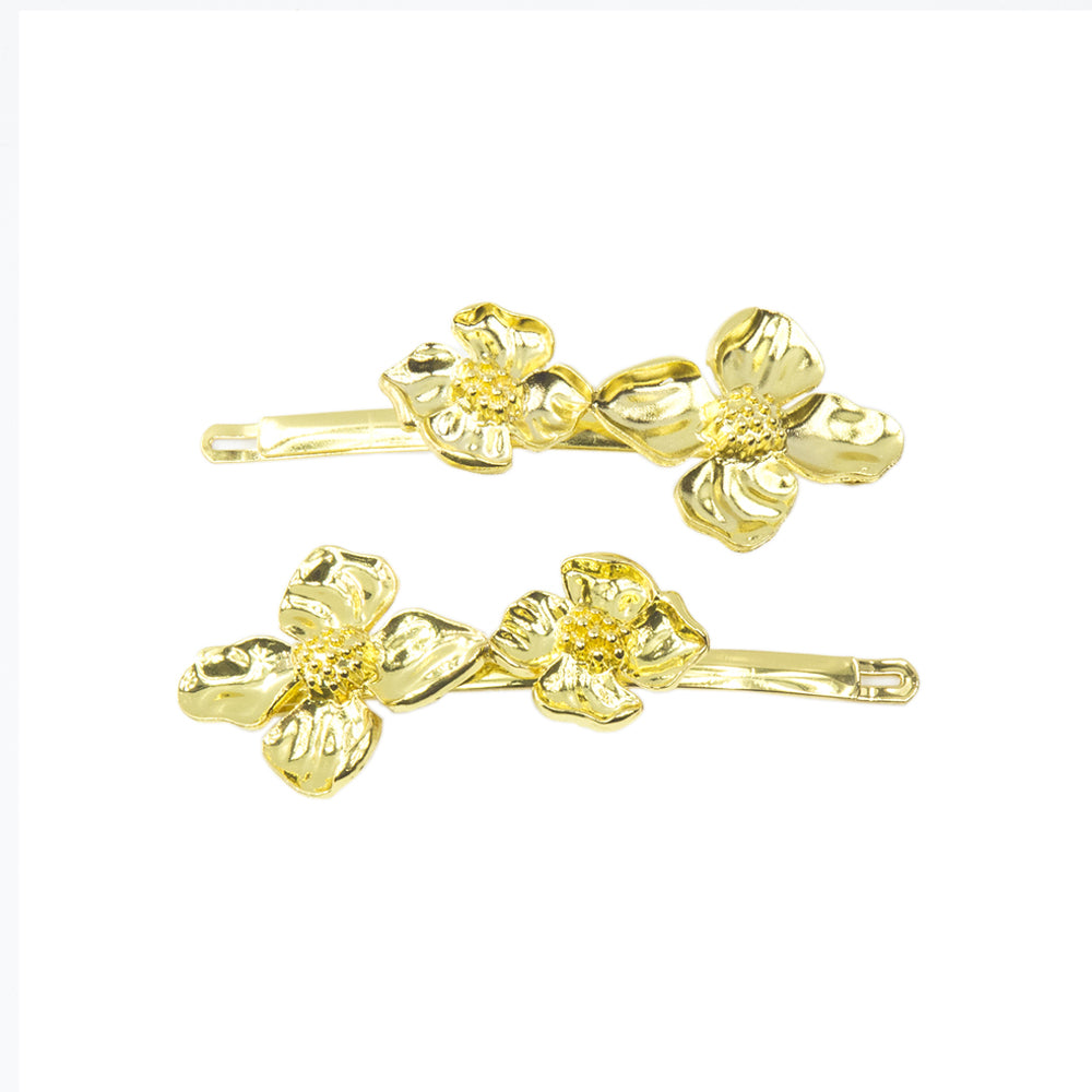 Elena - Gold Flower Hair Slides