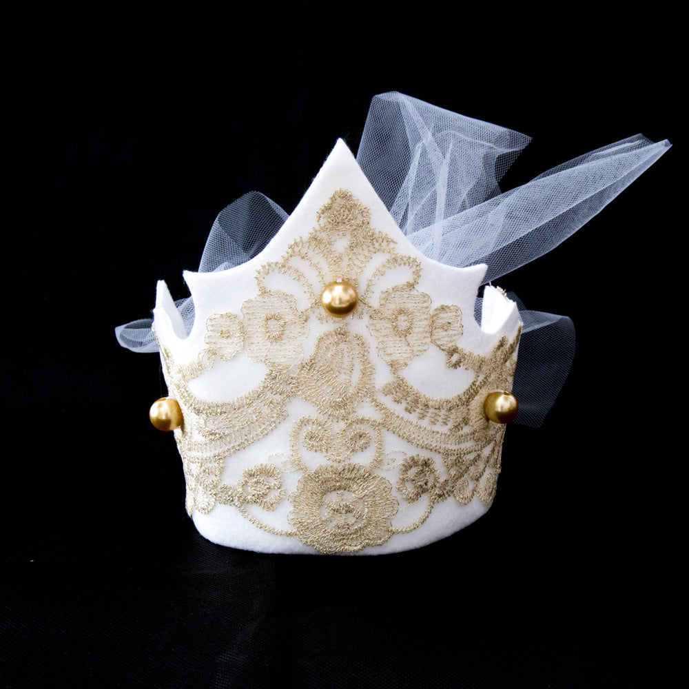 Linnea - Ivory/Gold Crown Tie Band