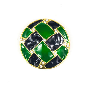 Demi - Navy/Emerald Brooch With Crystals