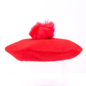 Ella - Red Beret With Pompom