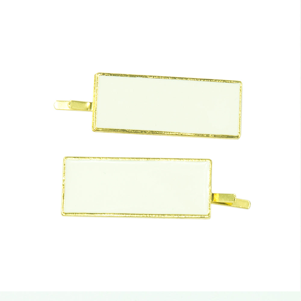 Ada - Ivory/Gold Rectangle Enamel Hair Slides