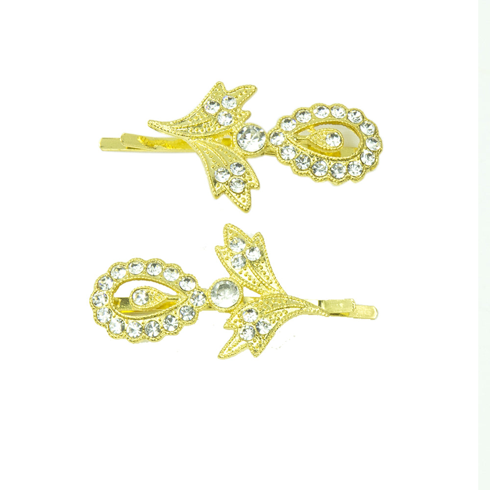 Gina - Gold Crystal Hair Slides