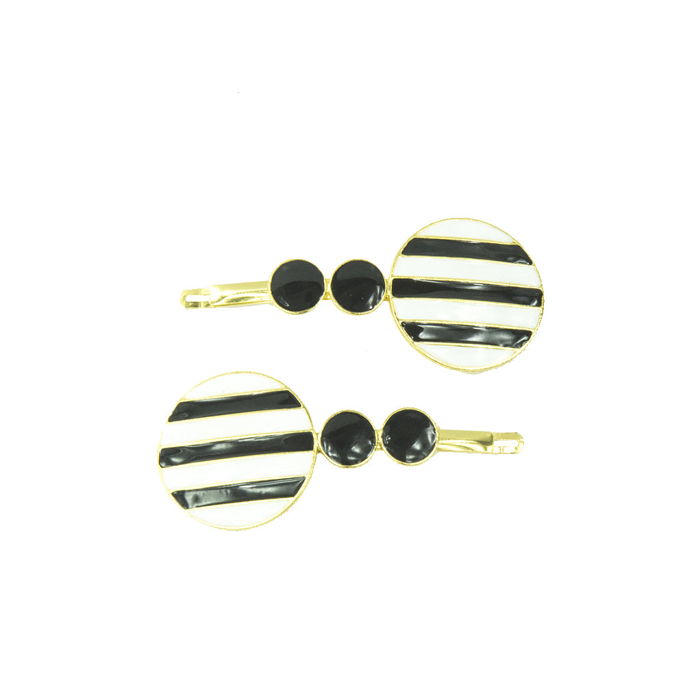 Casey - Black and White Striped Disc Hairslides