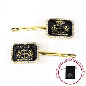 Claudia - Black Rectangle Crest Hair Slides