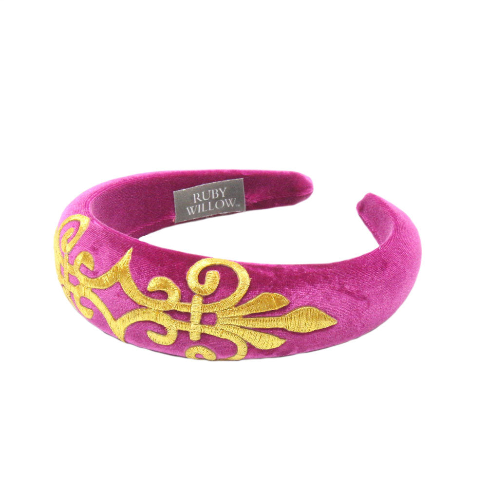 Gabriella - Fuchsia Velvet Padded Hairband With Gold Scroll