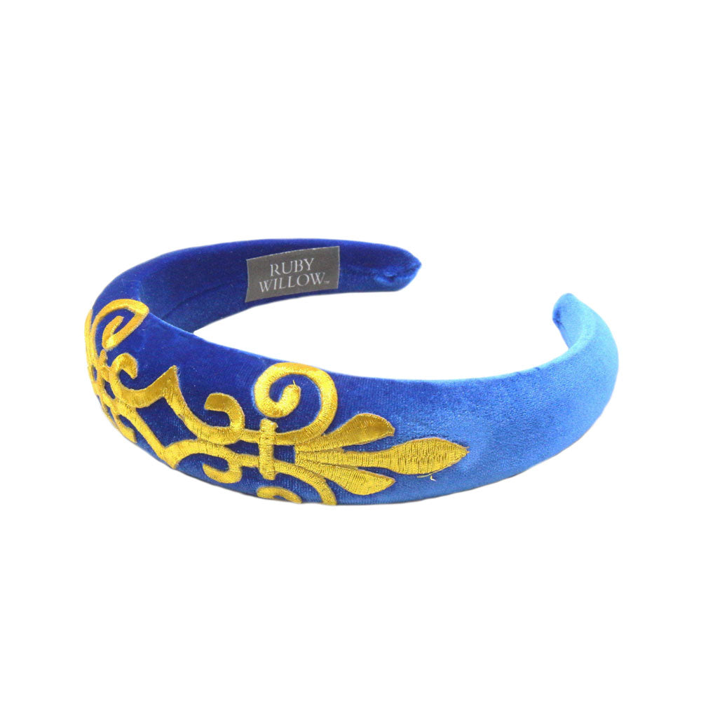 Gabriella - Royal Blue Velvet Padded Hairband With Gold Scroll