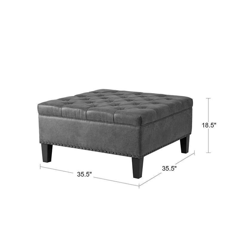 Svitlife Living Room Upholstered Ottoman with Nailhead Trim Seat Footstool Leather Bed End Table Box Round Coffee Polyester