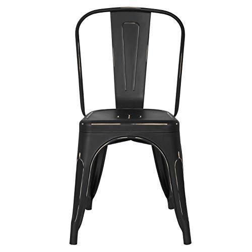 POLY & BARK EM-112-BLK-X4 Trattoria Side Chair in in Black (Set of 4)