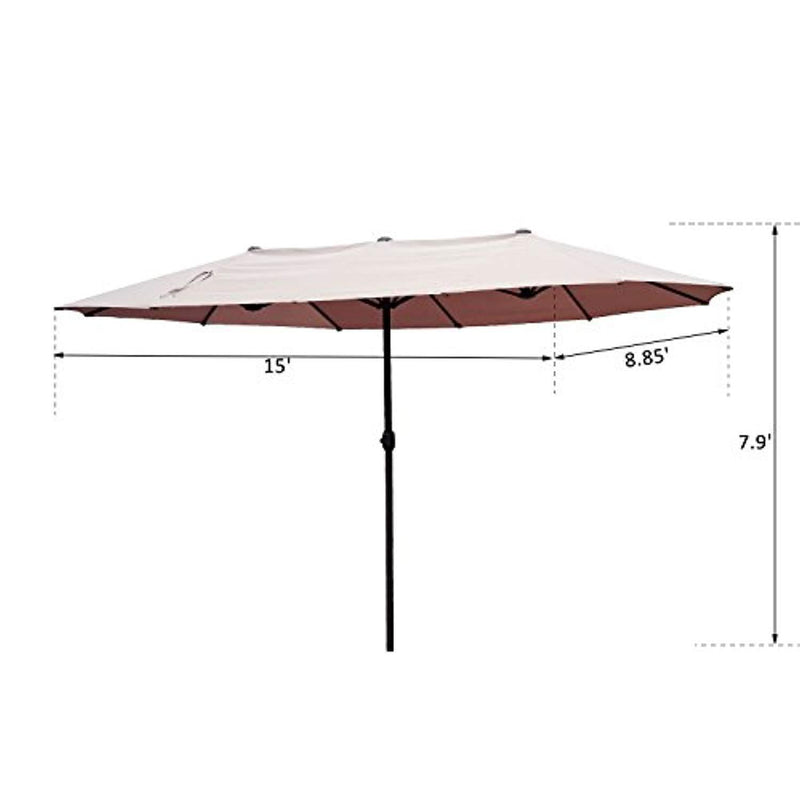 Outsunny VD-3454OPBE Crank-Tan 15' Double-Sided Twin Outdoor Market Patio Umbrella with Cran, L x 8.85'W x 7.9'H
