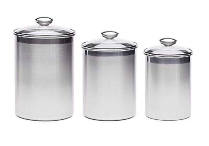 +Steel XL Canister Set Stainless Steel Set of 3 Canisters with Scoops and Lids