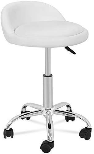 Adjustable Hydraulic Rolling Swivel Salon Stool Chair Tattoo Massage Facial Spa Stool Chair with Back Rest (PU Leather Cushion) (1PCS)