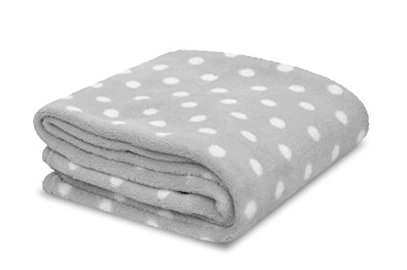 Little Starter Plush Toddler Blanket, Grey Dot