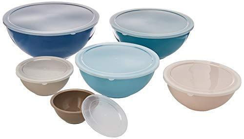 Gourmet Home Products 12 Piece Nested Polypropylene Mixing Bowl Food Storage Set with Lids, Slate Blue