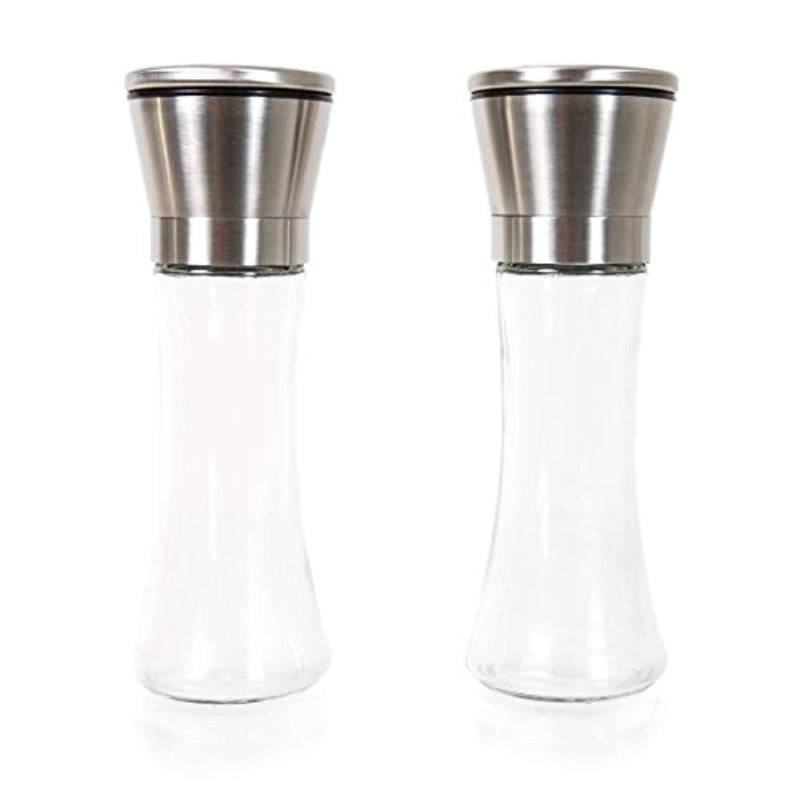Inventory Liquidation Sale - Premium Tall Glass & Stainless Steel Salt and Pepper Grinder Set - Brushed Stainless Steel Pepper Mill and Salt Mill, Adjustable Ceramic Rotor By Simple Kitchen Products