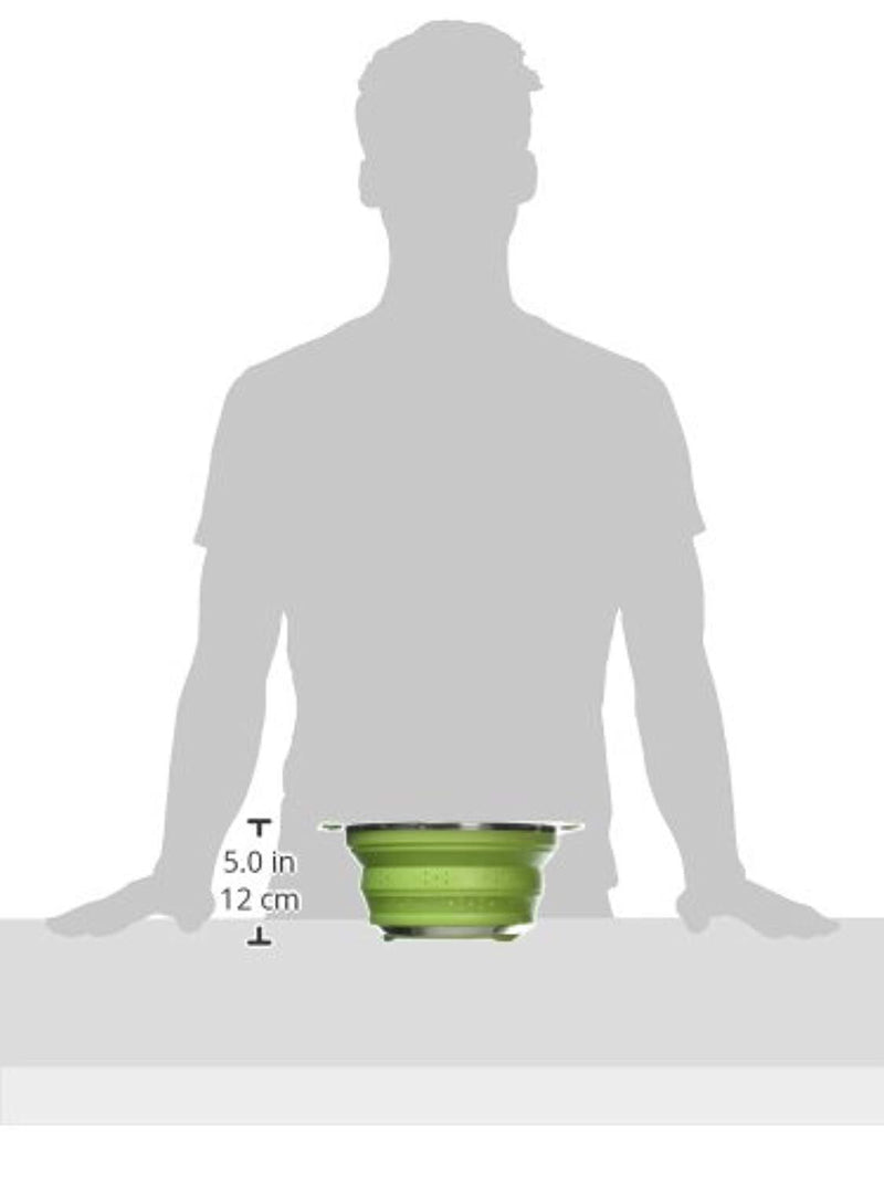 Best Large Collapsible Silicone Colander/Strainer with Stainless Steel Base by Chef Frog™