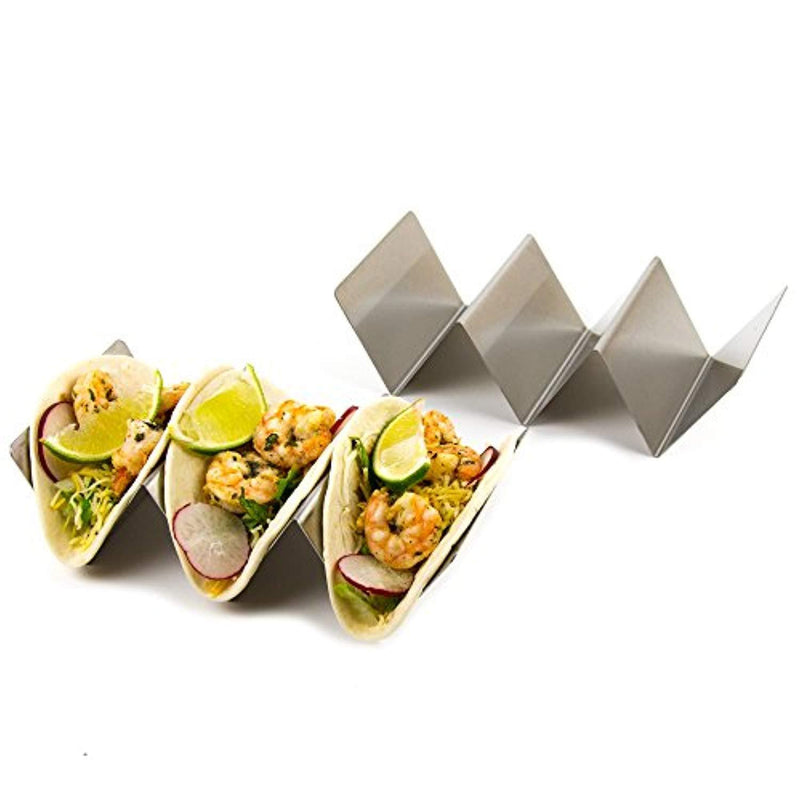 Set of 4 Stylish Stainless Steel Taco Holders, Restaurant Style Taco Stands Hold up to Three Tacos Each, Dishwasher Safe