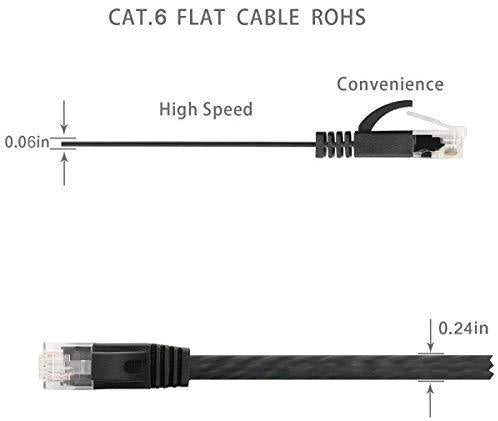 Cat 6 Ethernet Cable 10FT 5PCS UP to Gigabit 1000 Base-T LAN Higher Bandwidth 32AWG Cat6 Internet Network Flat Patch Cable Short Computer Networking Cord with Snagless RJ45 Connectors