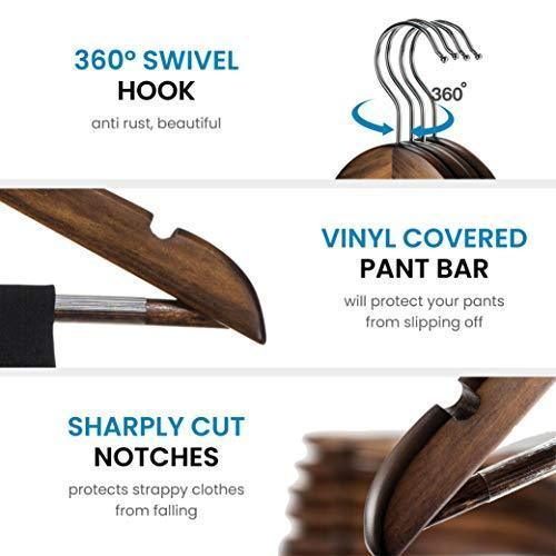 High-Grade Wooden Suit Hangers 20 Pack with Non Slip Pants Bar - Smooth Finish Solid Wood Coat Hanger with 360° Swivel Hook and Precisely Cut Notches for Camisole, Jacket, Pant, Dress Clothes Hangers