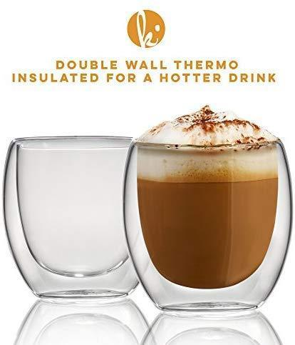 Espresso Cups Shot Glass Coffee Set of 2 - Double Wall Thermo Insulated