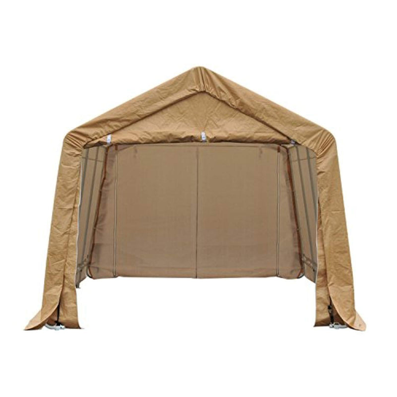 Outsunny 17' x 10.5' Heavy Duty Enclosed Vehicle Shelter Carport - Beige